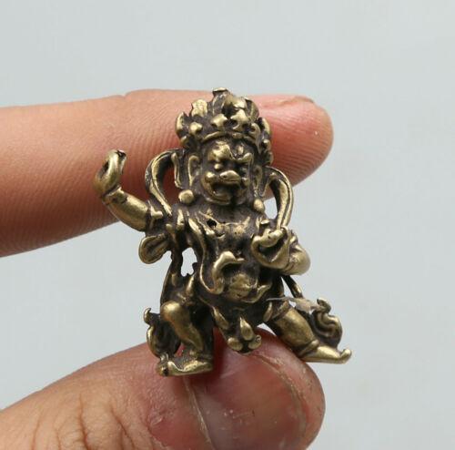 31MM Sammeln China Bronze Buddhismus Mahakala Zorn Deity Amulett Anhänger Statue