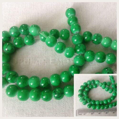 Vendeur Britannique * Vert Effet Marbre 5 mm perles X25 Pour Fabrication De Bijoux Et Artisanat