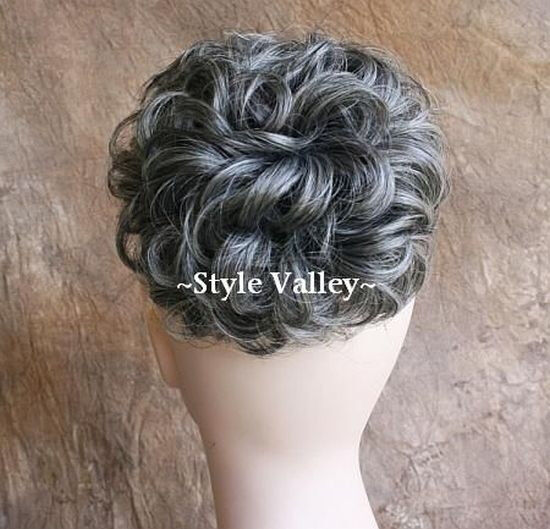 Salt Pepper BUN Hairpiece Extension Gray Mix Short Curly Chignon Hair Piece