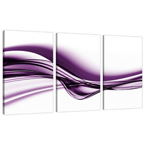Image Is Loading Set Of 3 Large Purple Canvas Prints Pictures