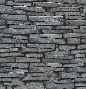 Fine Decor Fd31291 Distinctive Brick Stone Wallpaper Grey