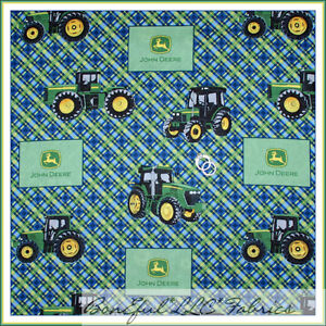 Boneful Fabric Fq Cotton Quilt Blue Green B W Baby Boy John Deere