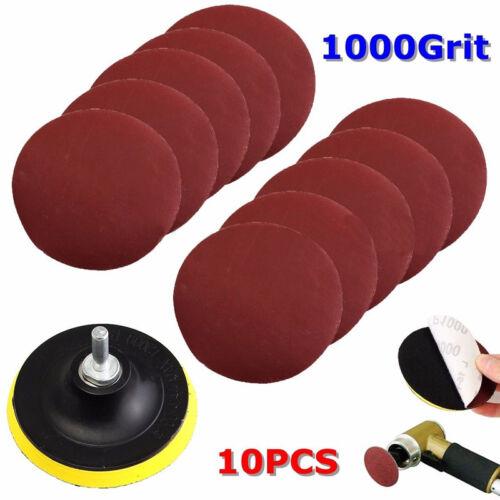 10Pcs 4/'/' Sanding Disc Sandpaper Hook Loop 1000Grit Backer Pad Drill Adapter