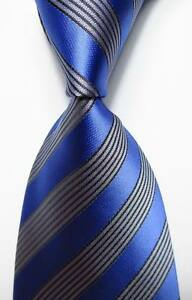 New-Classic-Striped-Blue-Gray-JACQUARD-WOVEN-100-Silk-Men-039-s-Tie-Necktie