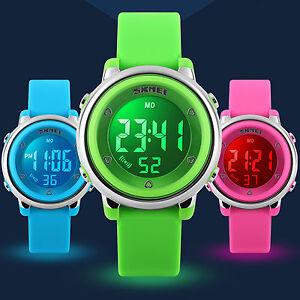 dcd4c6d6d931 SKMEI Kids Watches Waterproof LED Light Digital Date Alarm Girl Boys ...