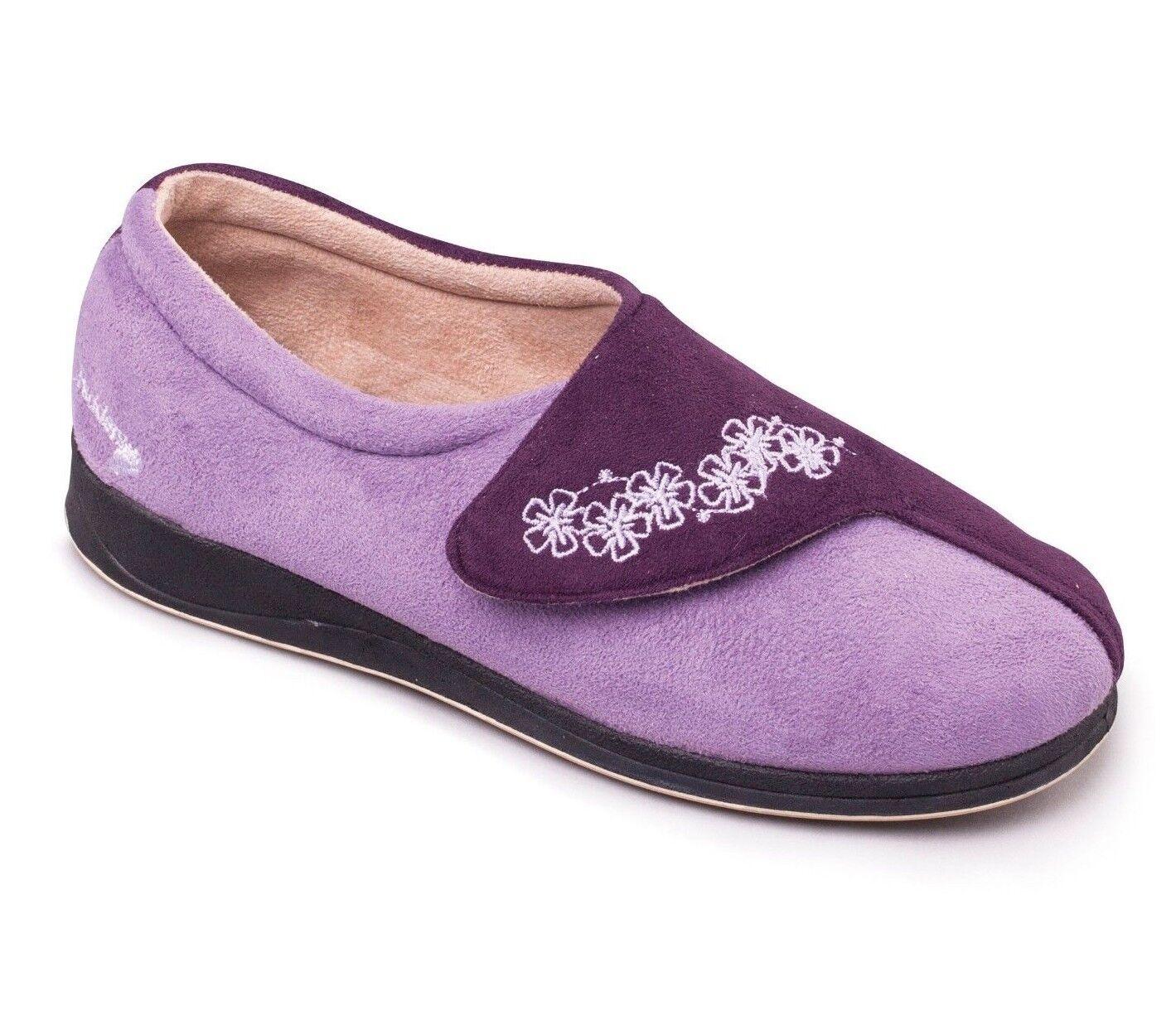 Padders HUG Ladies Memory Foam Strap Extra Wide EE Fitting Slippers Purple