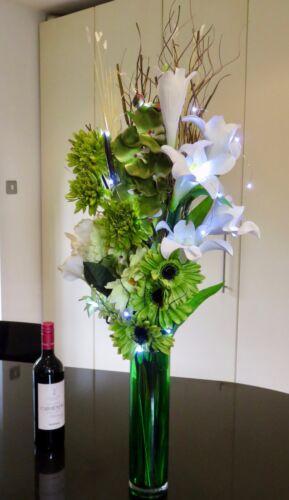 Vert Crème écran en verre vert vase gratuite 20 DEL Lumières mariages