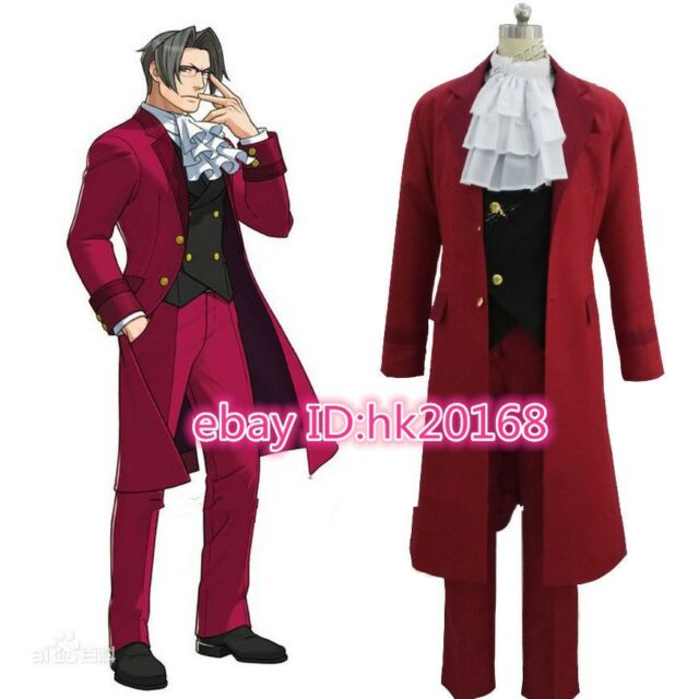 Ace Attorney Miles Edgeworth Red Suit Outfit Cosplay Costume For