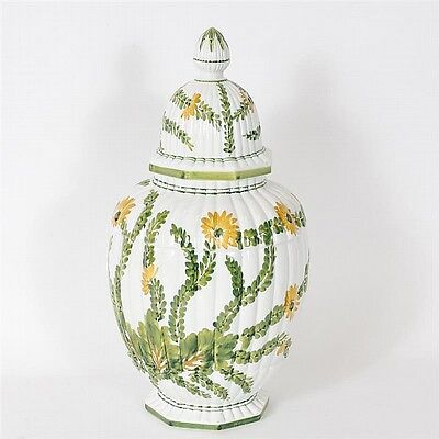 Large Continental porcelain hand painted urn, possibly Delft. Lot 48A