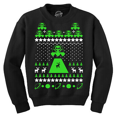 Alien Abduction Ugly Christmas Sweater Red Adult Crew Neck Sweatshirt