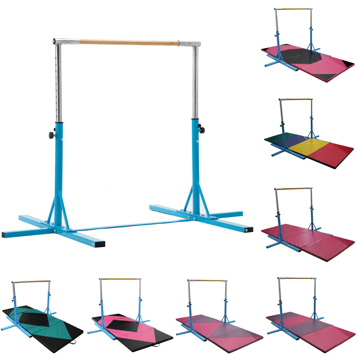 bluee Adjustable Gymnastics Training Horizontal Bar Sports Equipment with Gym Mat