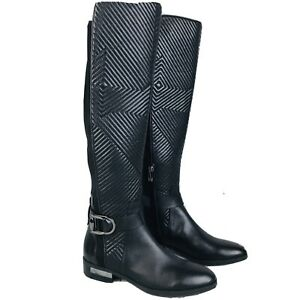 Vince-Camuto-Pordalia-Black-Leather-Almond-Toe-Knee-High-Riding-Boots-Womens-6-5