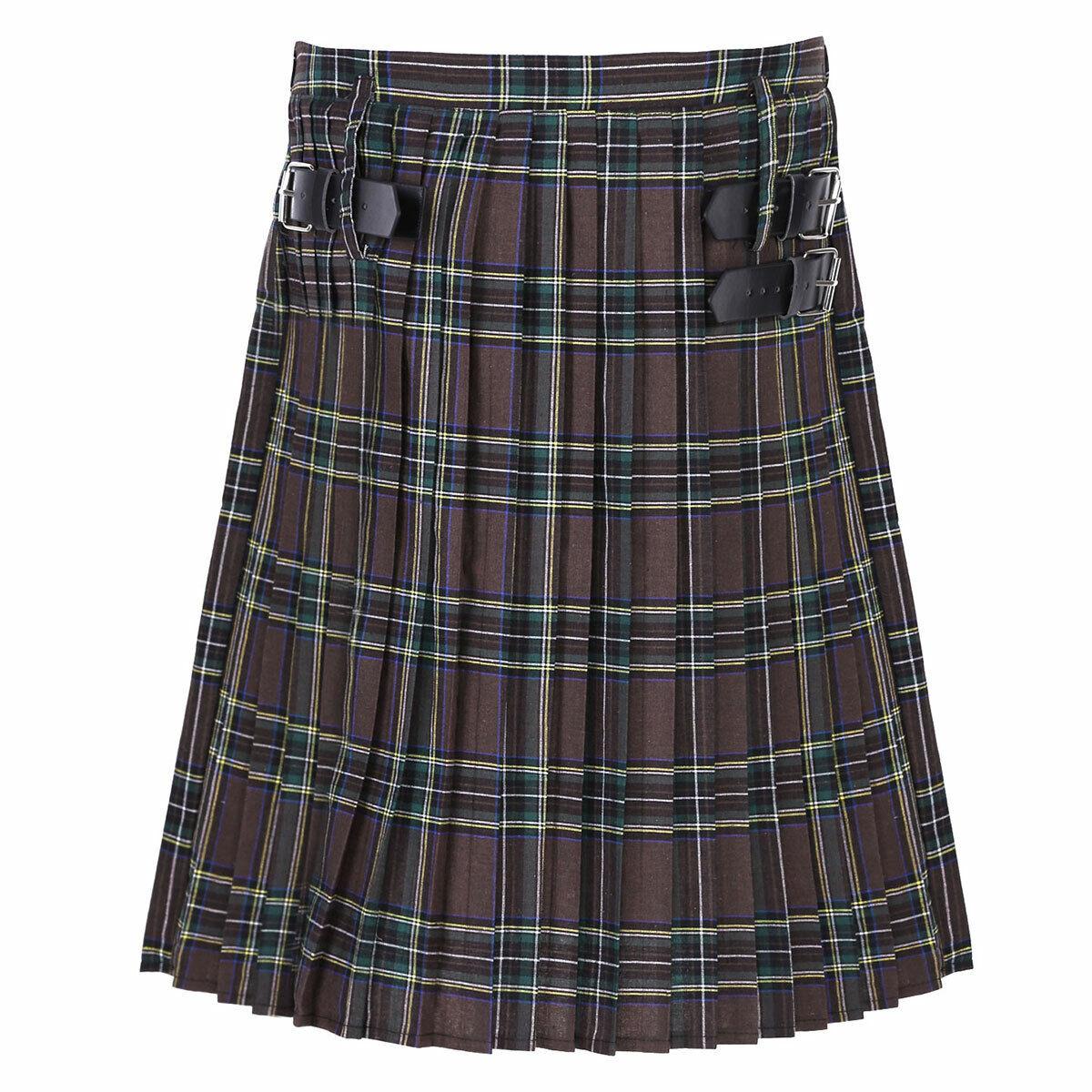 Mens Scottish Traditional Highland Dress Tartan Kilts Pleated Skirt Costume