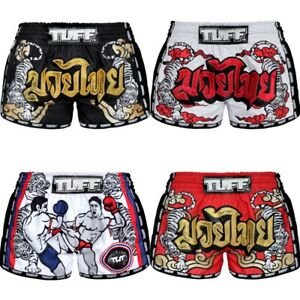 TUFF Muay Thai Boxing Shorts Green NavyBlue White Fitness MMA Kick Training 6H