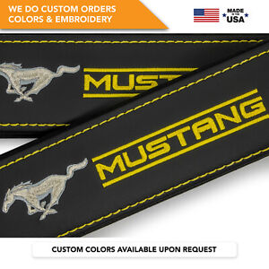 Car Seat Belt Leather Shoulder Pads Covers for Ford Mustang Embroidery Gray Logo