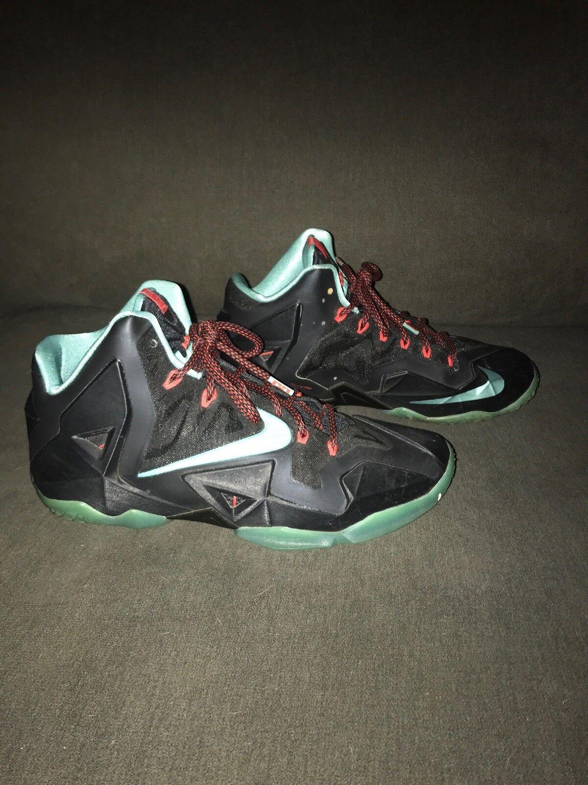 Nike Lebron XI Black Diffused Jade Crimson 616175-004 Men's Size 9 Pristine