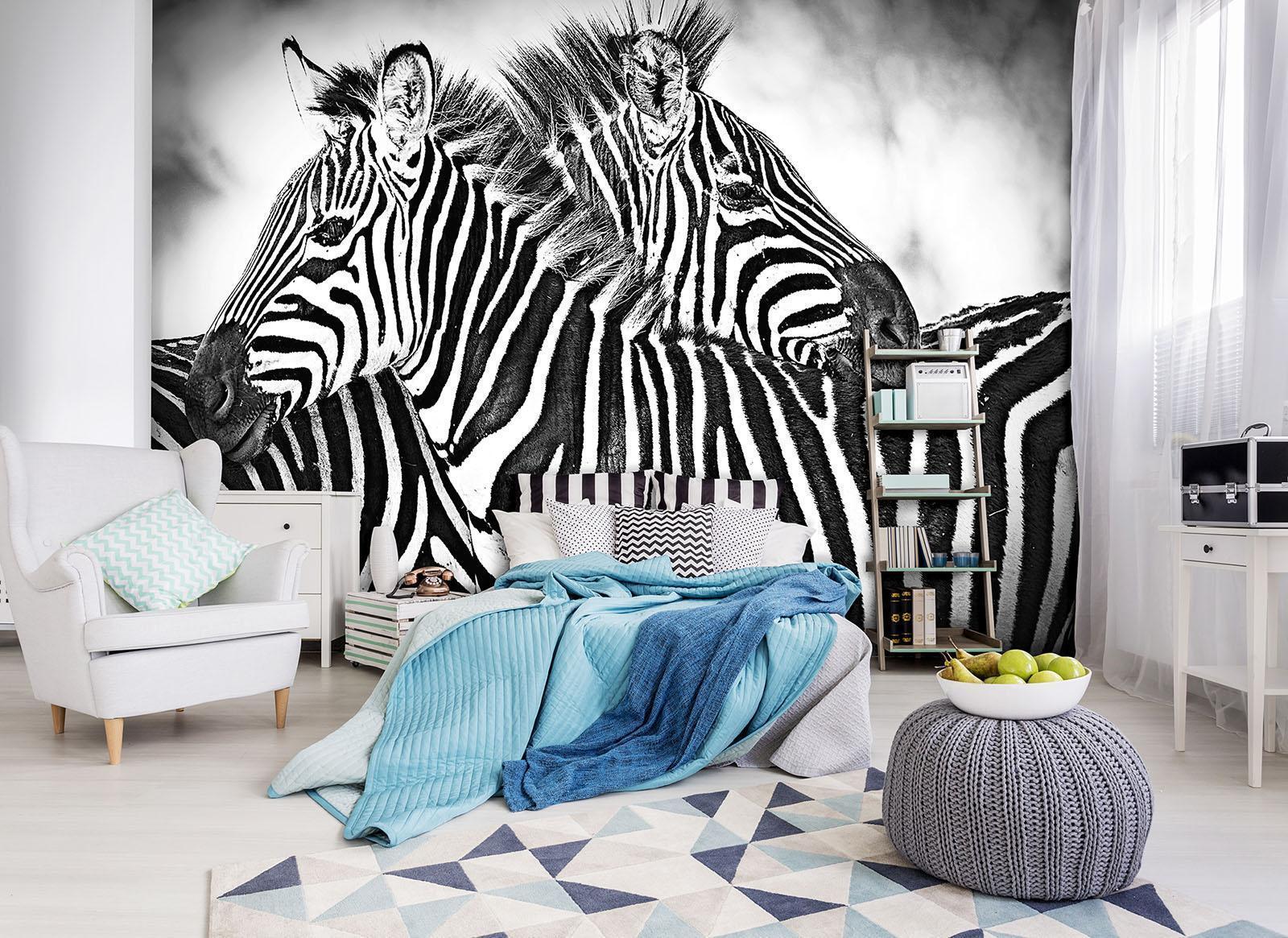 Vließ Fototapete Tapete Wandbild Photo Wallpaper Mural Zebra Weiss-Schwarz 10159