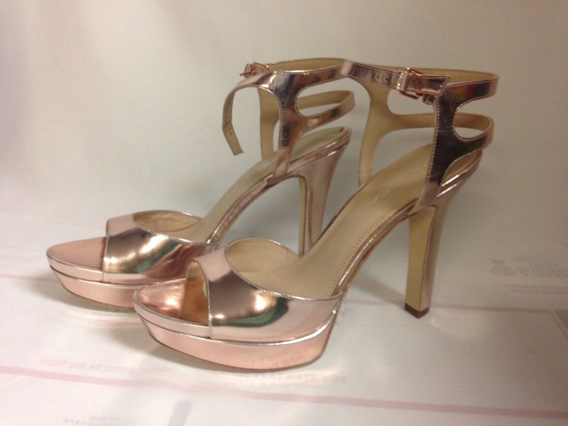 Via Spiga Brooke 2 Platform Sandals 9 M Rose Leather Metallic Leather Rose Upper New with Box 58c26f