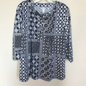 PERSEPTION CONCEPT Tunic Top Blouse Blue White Size Large