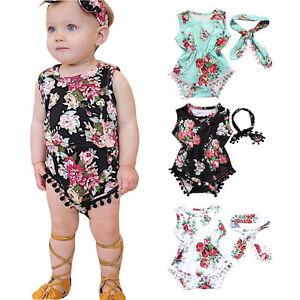 86fc93c19 Image is loading Infant-Newborn-Baby-Girl-Floral-Romper-Jumpsuit-Sunsuit-