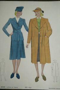 Engraving-Fashion-Paris-Summer-1941-The-Magazine-Of-L-039-Homme-Vintage-Fashion