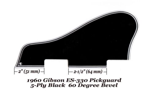ES-330 1960 Pickguard 5-Ply Black W//Mounting Block made for Gibson Project NEW