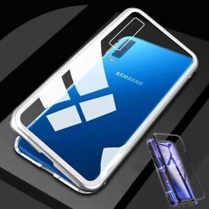 Pour-Samsung-Galaxy-A50-6-4-AIMANT-Metal-Verre-Transparent-Argent-Housse-Etui