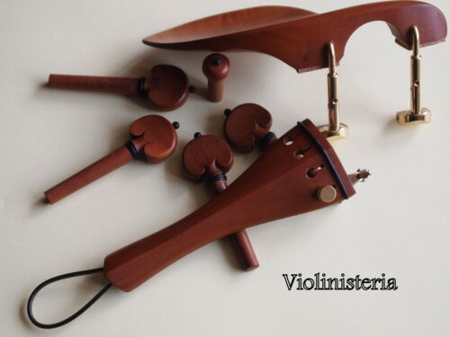pegs /& endpin VIOLIN WOOD SET Tail piece with gut /& /'E/' adjuster chin rest