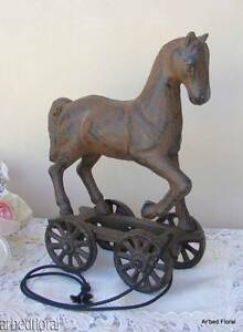 Cast-Iron-Pull-Toy-Horse-Vintage-Style-Statue-Reproduction-Figurine