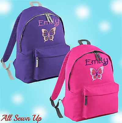Embroidered Bfly Personalised Rucksack Schoolbag Junior School Bag Backpack