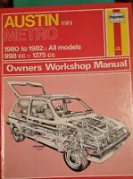AUSTIN METRO 1980 to 1982 all models,  Haynes workshop manual