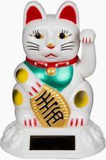 Weiße Mini-Kunststoff-Winkekatze Winke-Glücks-Katze mit Solarzelle ca. 8 cm hoch