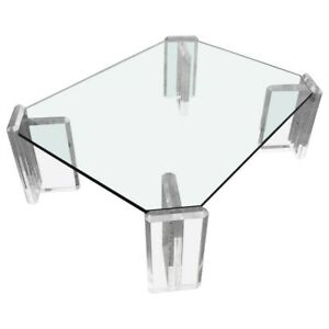 Karl Springer Style Coffee Table With Lucite Block Legs And Glass Top Ebay