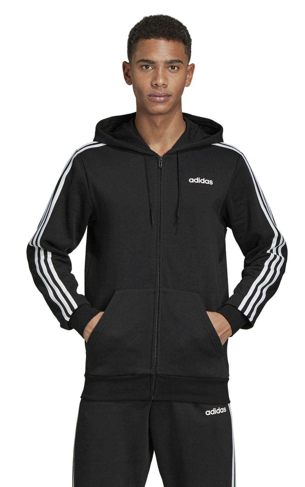 Adidas Performance Hombre Chaqueta con Capucha Ess 3  Stripes Fullzip Polar black  hot sales