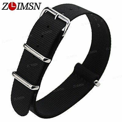 Sport Ballistic Durable Nylon Wrist Watch Band Strap 3 Rings 18mm 20mm 22mm 24mm