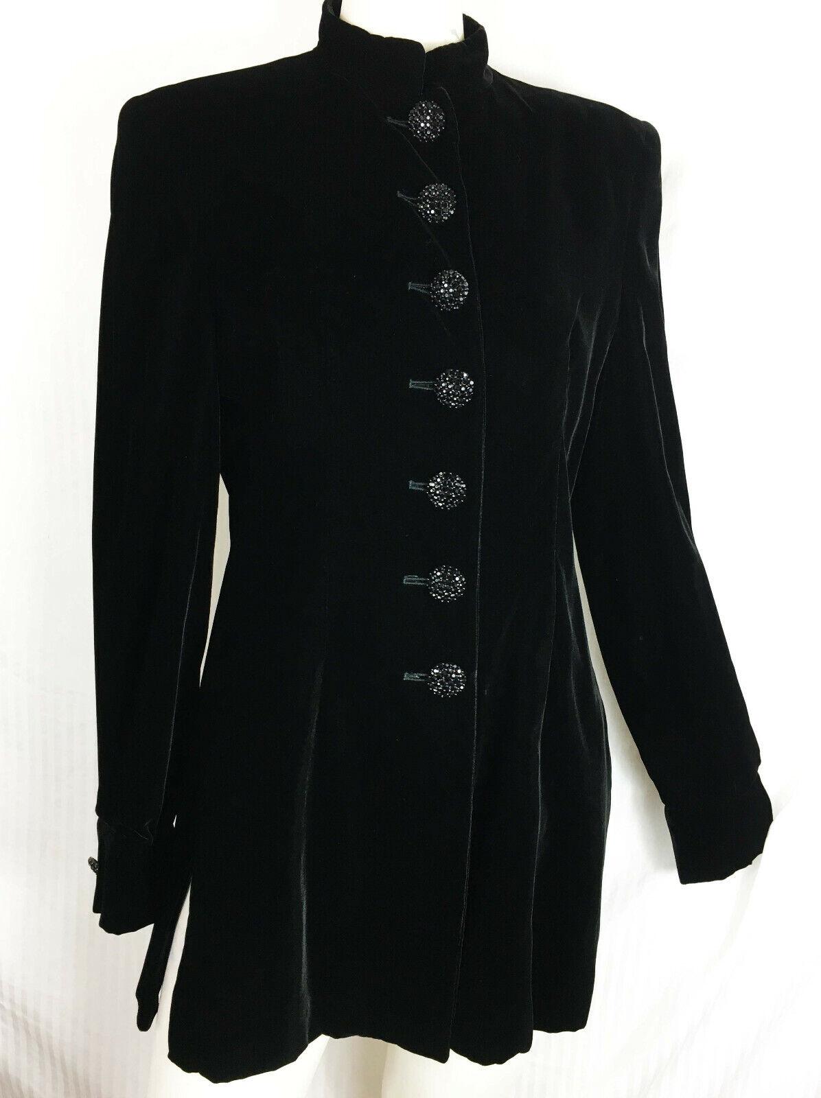 4 St John Evening Velvet Jacket Coat Black Jet Pave Riding Mandarin Collar