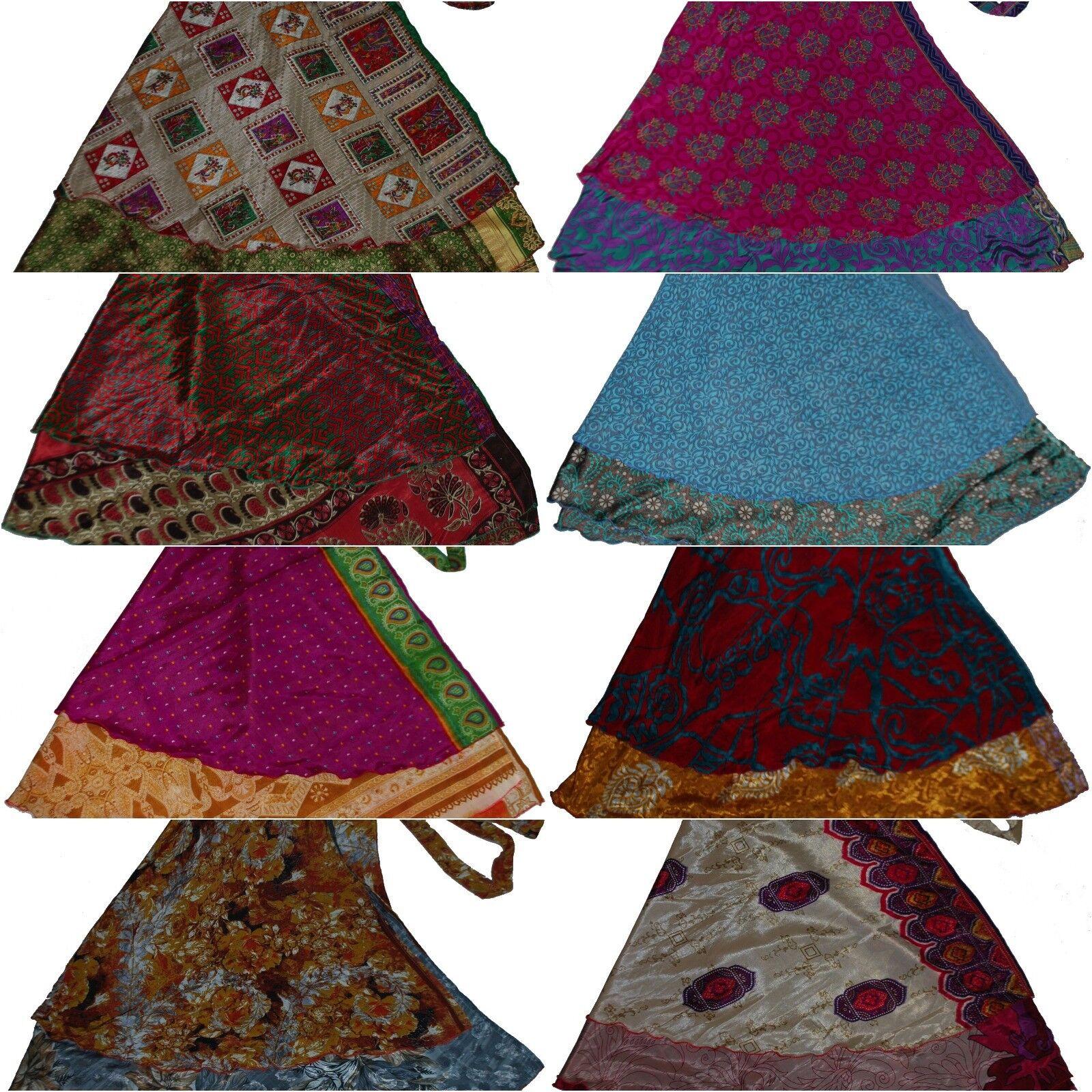 Wholesale Lot Of 10 Pcs Vintage Reversible Sari Magic Wrap Skirts 36
