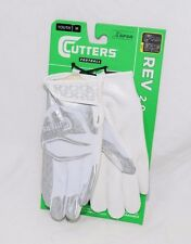 Cutters REV 2.0 Football Receiver Gloves S251 White Youth Sizes Medium NEW