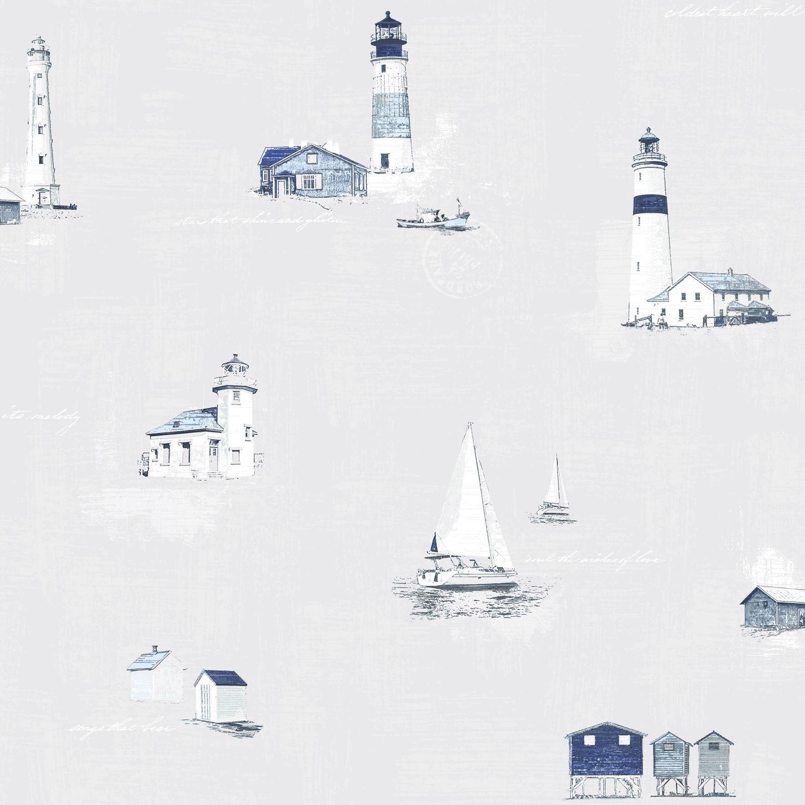 Essener Tapete Coast to Coast G23312 grau blau Leuchtturm Stiefel Vliestapete Vlies