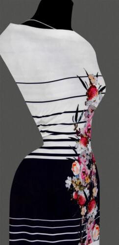 13,43 €//m 70cm Rapport STOFF SATIN Blumenmuster gestreift Streifen Muster