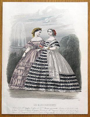 LES MODES PARISIENNE, PARIS FASHION plate 909 antique hand coloured print 1859