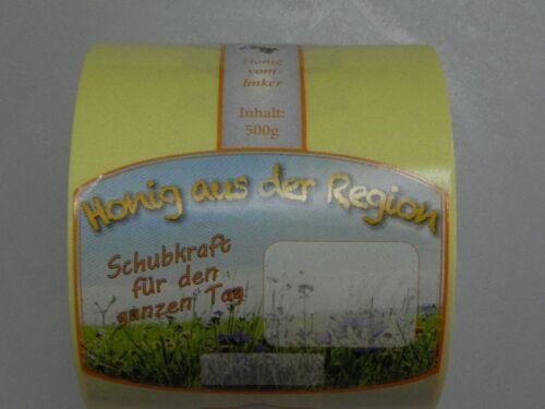 """Etiquetas en rollo de 100 piezas 500 g neutro apicultura /""""Flor/"""" etiqueta engomada de la miel apicultura"""