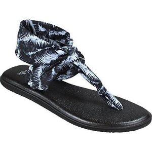 a2e334d509e3e6 Sanuk Women s Yoga Sling Foam Black Floral Palm Print Sandal Flip ...