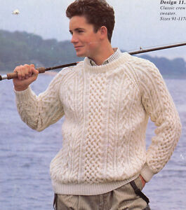f5510340a052ca Details about Classic Mans Aran Crew Neck Sweater 36
