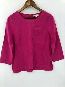 J.Crew Women's Pink 100% Silk Long Sleeve Blouse Top Size 4