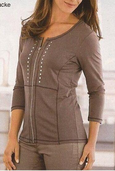 Chemise Veste Top Shirt Veste Viscose Couleur Taupe Taille 48