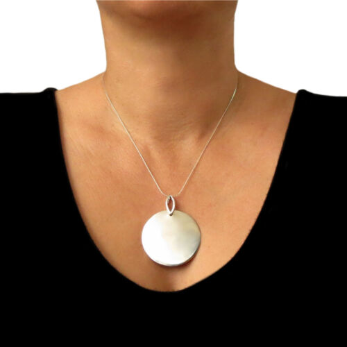 Heavy 925 Sterling Silver Solid Circle Disc Pendant Gift Boxed