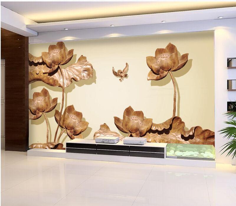 3D Lotus Flower Painting 842 Wall Paper Wall Print Decal Wall AJ WALLPAPER CA