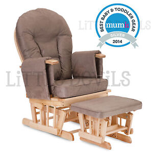 BEECH WOOD MOCHA SUPREMO BAMBINO Nursing Glider Rocking Maternity Chair Sto