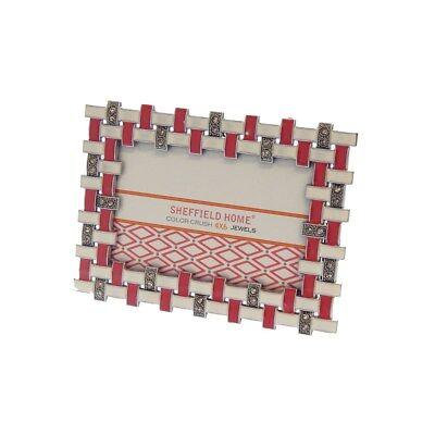 Creamy Yellow Silvertone Rhinetone Metal Enamel 4 x 6 Picture Frame